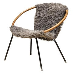 Fur Easy Chair with Bamboo Armrest