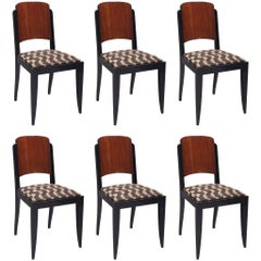 Set of Six French Art Deco Chairs Made by Architect Jules Leleu