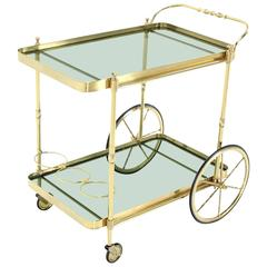 Brass and Green Bottle Shade Glass Italian Tea Cart