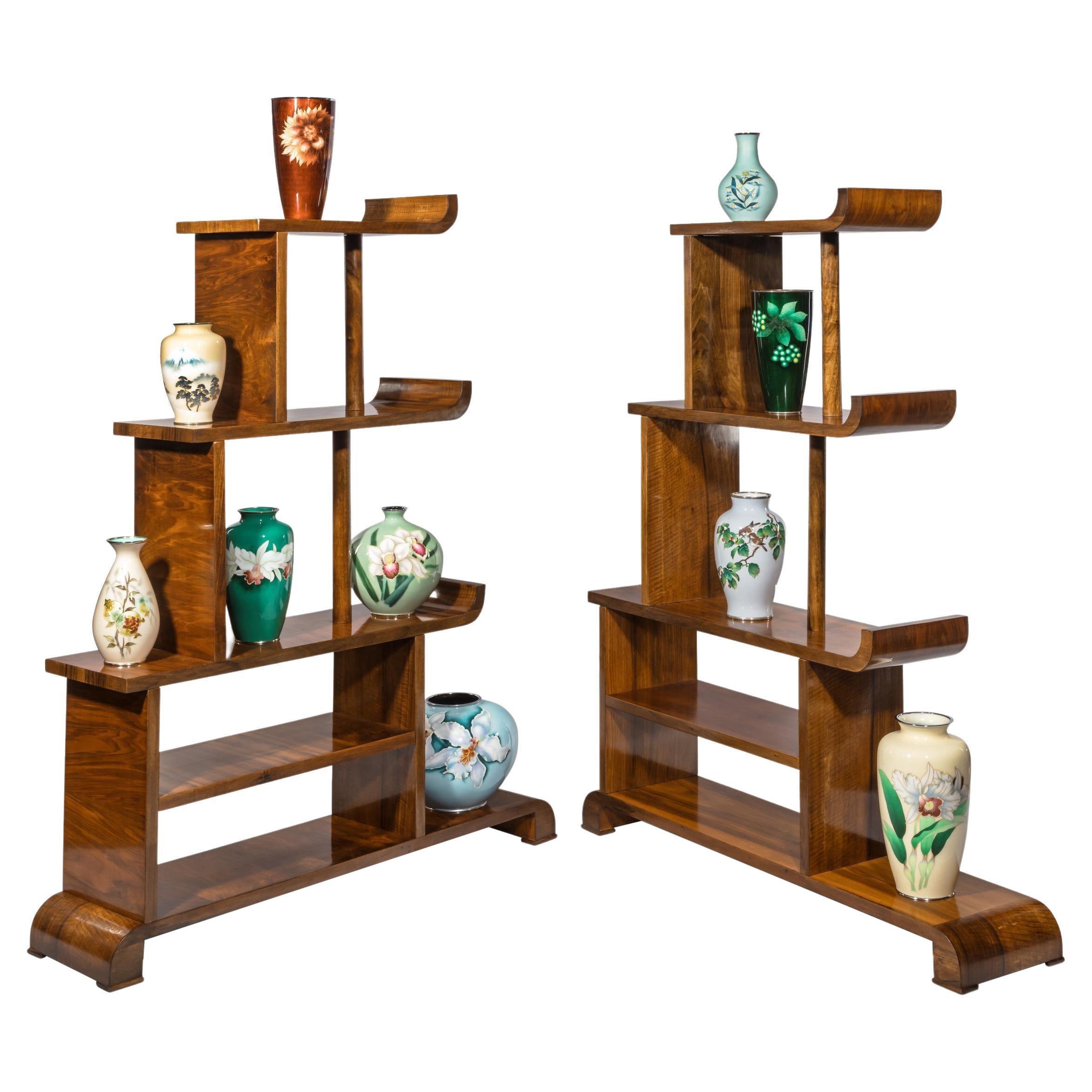 Pair of Asymmetrical Art Deco Walnut Shelves