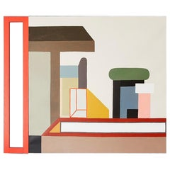 Contemporary Nathalie du Pasquier Oil on Canvas with Painted Wood, Italy, 2017