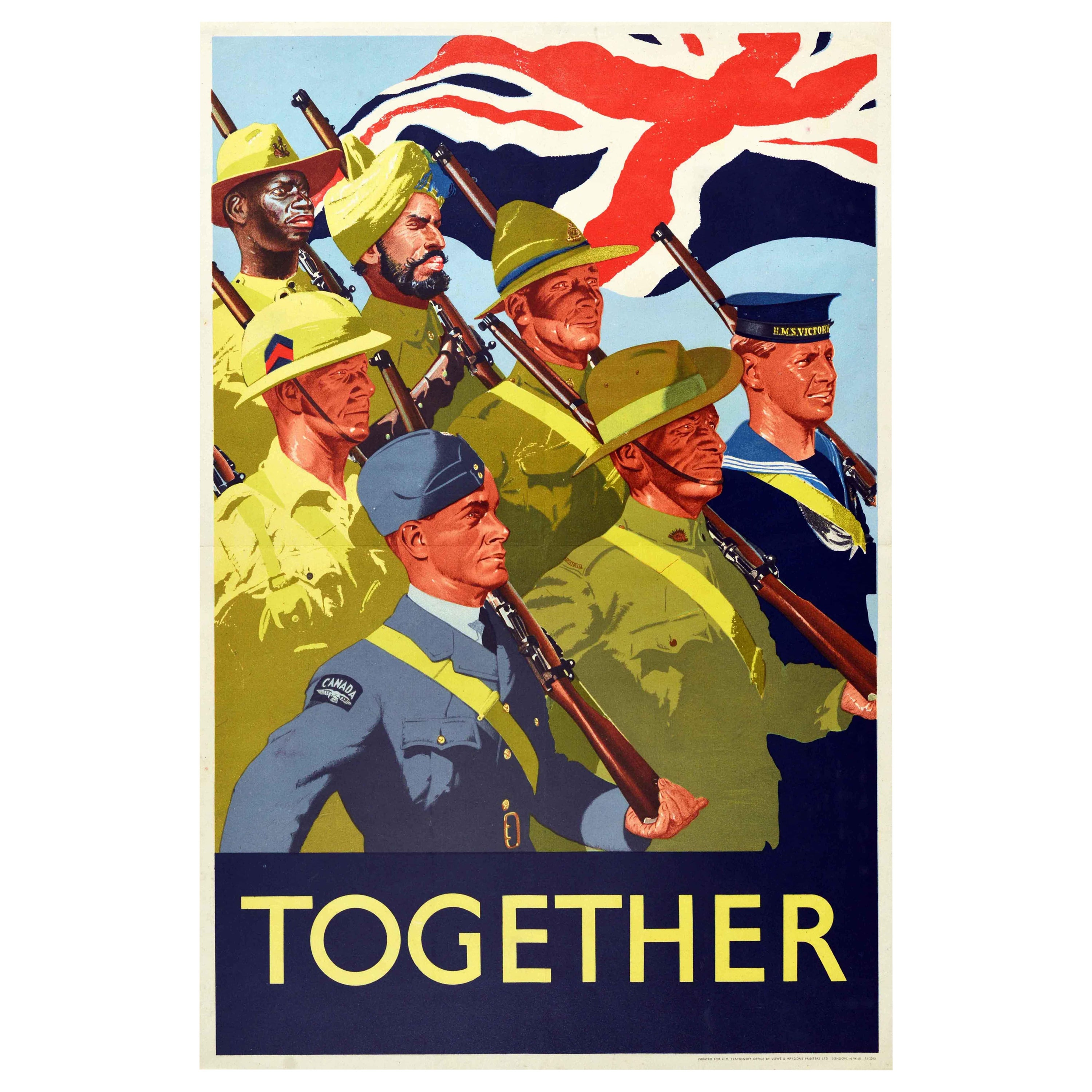 Original Vintage Poster Together Commonwealth Forces WWII Military Army Soldiers