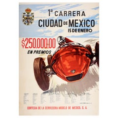 Original Vintage Sport Poster Carrera Ciudad De Mexico Grand Prix Car Racing Art