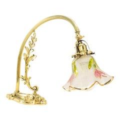 Jugendstil Piano Lamp with Original Antique Glass Shade Vienna Around 1907