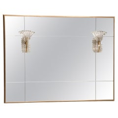 Brass Frame paneled Mirror with Studs and Glass Sconces Lights by Barovier