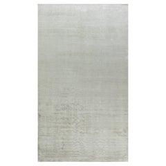 Doris Leslie Blau Collection Contemporary Solid Beige Handmade Silk, Wool Rug