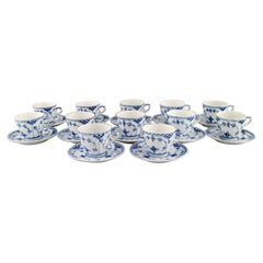 Twelve Royal Copenhagen Blue Fluted Half Lace Coffee Cups with Saucers