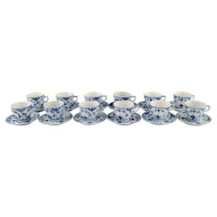 Twelve Royal Copenhagen Blue Fluted Half Lace Coffee Cups with Saucers, 1960s