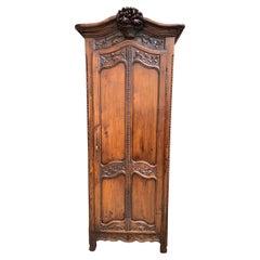 Antique French Carved Oak Armoire Bonnetiere Linen Cabinet Louis XV Style 19th C