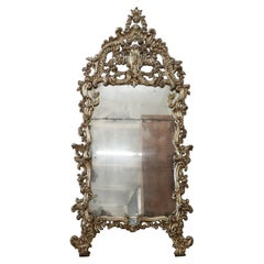19th Century Italian Louis XV Style Carved Wood and Mecca Large Wall Mirror