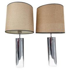 Pair of Mid Century Modern Stainless Table Lamps Robert Sonneman for Kovacs