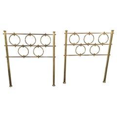 Mid-Century Modern Italian Pair of Gilt Brass Single Bed Heads by O. Borsani