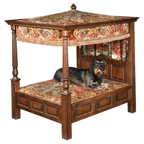 Bed Dog Sample Dolls Tester 4 Poster Upholstered Antiquarian Jacobean Style Oak