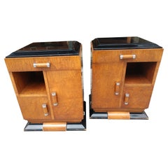 Pair of French Art Deco Burl Wood Night Tables