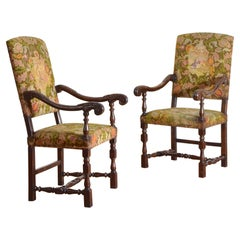 19th Century Italian Pair of Carved Walnut Louis XIII Armchairs
