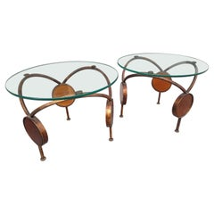 Pair of Mid Century Modern Sculptural Gilt Iron with Amber Glass Discs