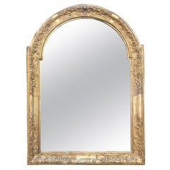 French 19th Century Arched Mirror Carved Giltwood Frame Mercury Glass