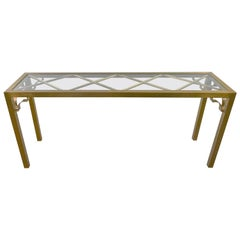 Modern Hollywood Regency Brushed Brass Plated Parsons Style Console Sofa Table