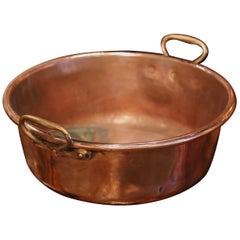 Mid-19th Century French Copper and Brass Jelly Boiling Bowl with Handles