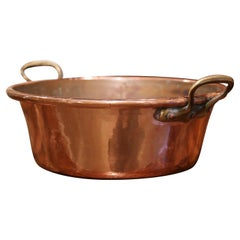 Mid-19th Century French Copper and Brass Jelly Boiling Bowl from Normandy
