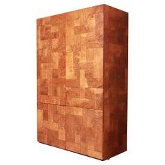Paul Evans for Directional Patchwork Burl Wood Bar Cabinet, 1970s