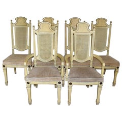 Set of Spanish Style Cane Back Dining Room Chairs, Set of 6