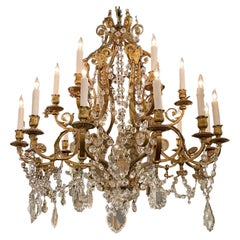 19th Century French Neo Classical Bronze and Crystal Chandelier