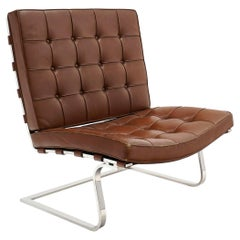 Tugendhat Chair Model MR 20 by Mies van der Rohe for Knoll, Brown Leather