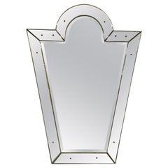 Venetian 'Key Hole' Shaped Beveled Glass Mirror, Hollywood Regency Style