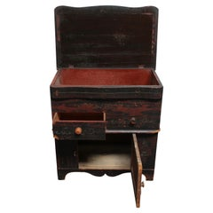 Petite Folk Art Hand-Painted Commode with Hinged Top
