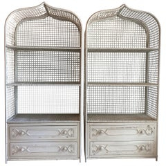 Vintage Wicker Rattan White Pagoda Moroccan Top Pair Etageres Shelves & Drawers