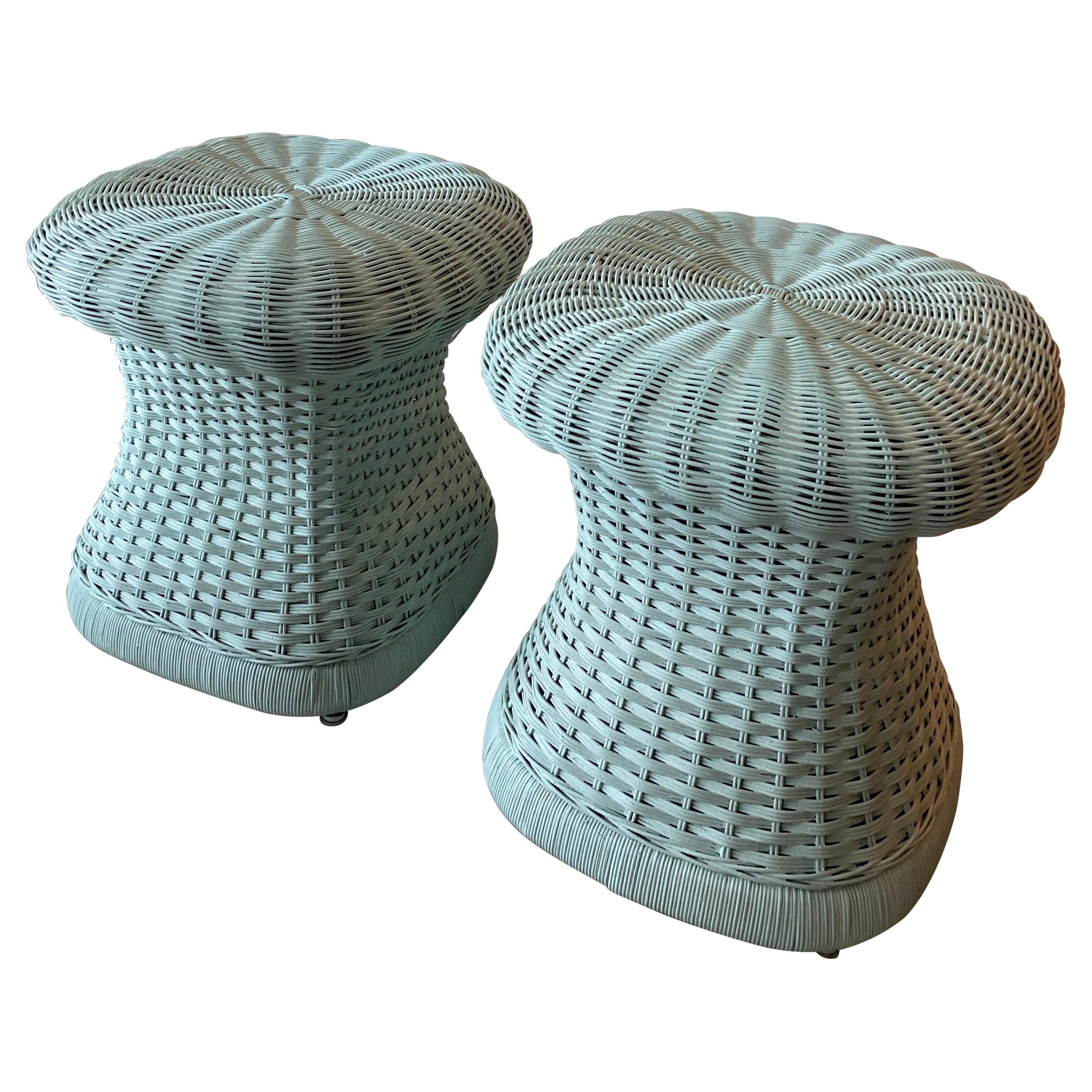 Vintage Pair of Wicker Mushroom Shape Benches Stools