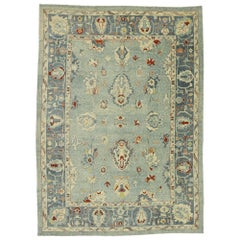 New Contemporary Turkish Oushak Rug with Federal Style, Cape Cod Nantucket Vibes