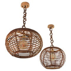 Pair of Rattan Globe Pendants or Hanging Lights, 1950s