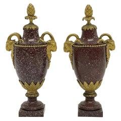 A Pair of Louis XVI Style Ormolu Mounted Porphyry Vases, 19th Century