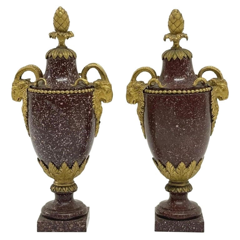 A Pair of Louis XVI Style Ormolu Mounted Porphyry Vases, 19th Century For Sale