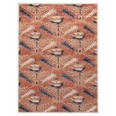 Rug & Kilim's Distressed Tribal Style Custom Rug, Red and Blue Geometric Pattern