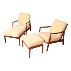 Ole Wanscher Danish Modern Lounge Chairs and Ottomans, Newly Refinished