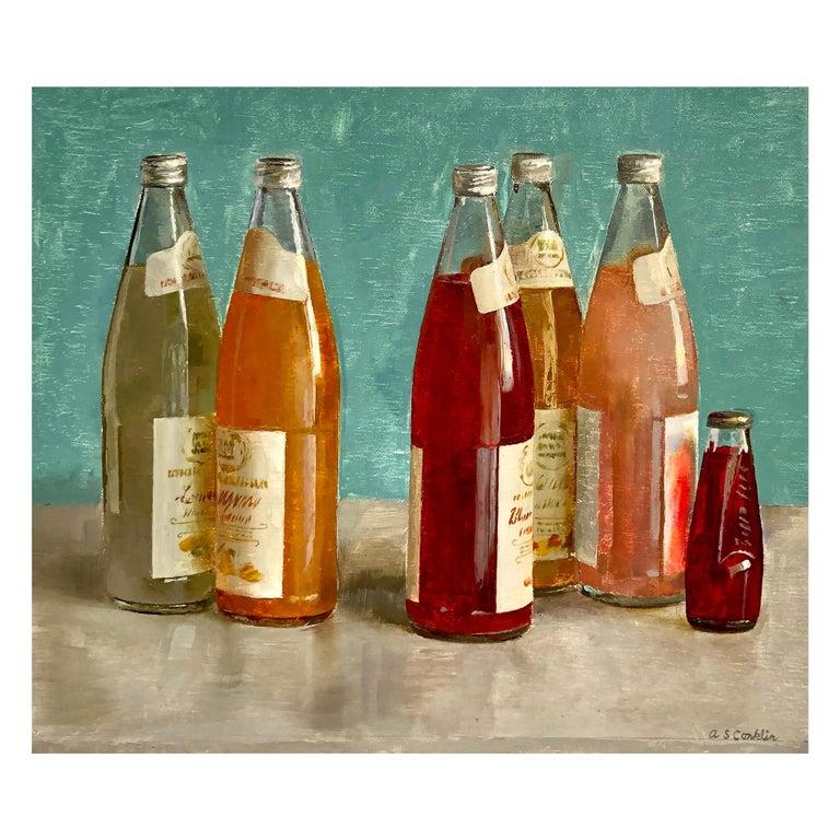 Still Life with Italian Soda Bottles, Original Oil Painting, Framed For Sale
