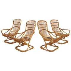 Set of Four Bamboo Armchairs and Table by Bonacina, Italy 1960's
