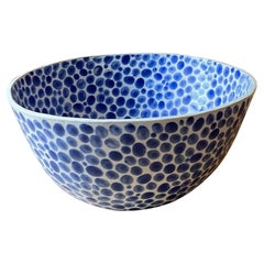 Blue Dots on White Stoneware Fruit Bowl