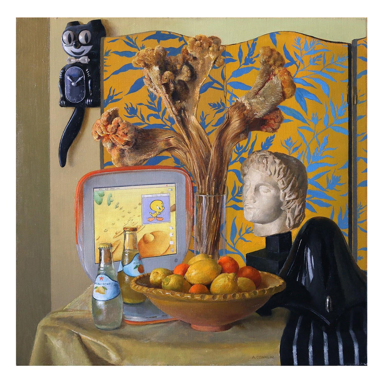 Still Life with Alexander Bust and iBook, Original Oil Painting, Framed