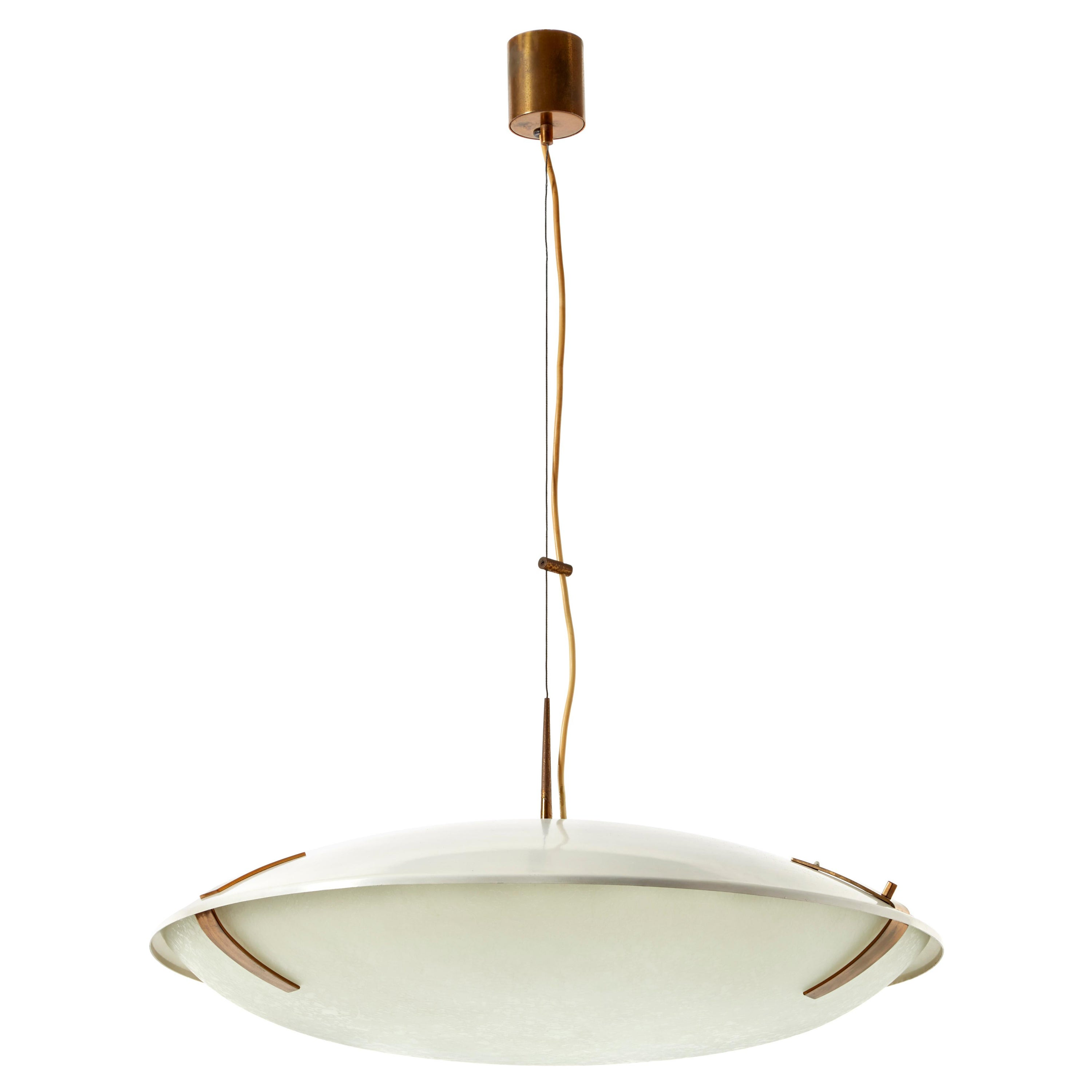 Stilnovo Pendant Light Model 1140 in Aluminum, Brass and Glass, Italy, 1960s