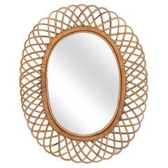 Large Italian Oval Rattan Mirror