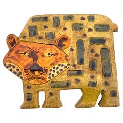 Marcello Fantoni Tiger Ceramic Wall Plaque