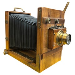 19th Century Antique Wooden Plate Folding Photographic Camera with Hermagis Lens