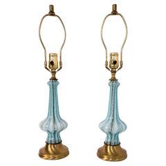 Pair of Vintage Venetian Lights or Lamps, Sky Blue Latticino Stripe 24 K Gold