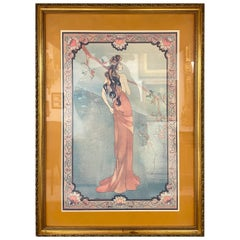 Art Nouveau Style Print Elegant Woman in the Forest