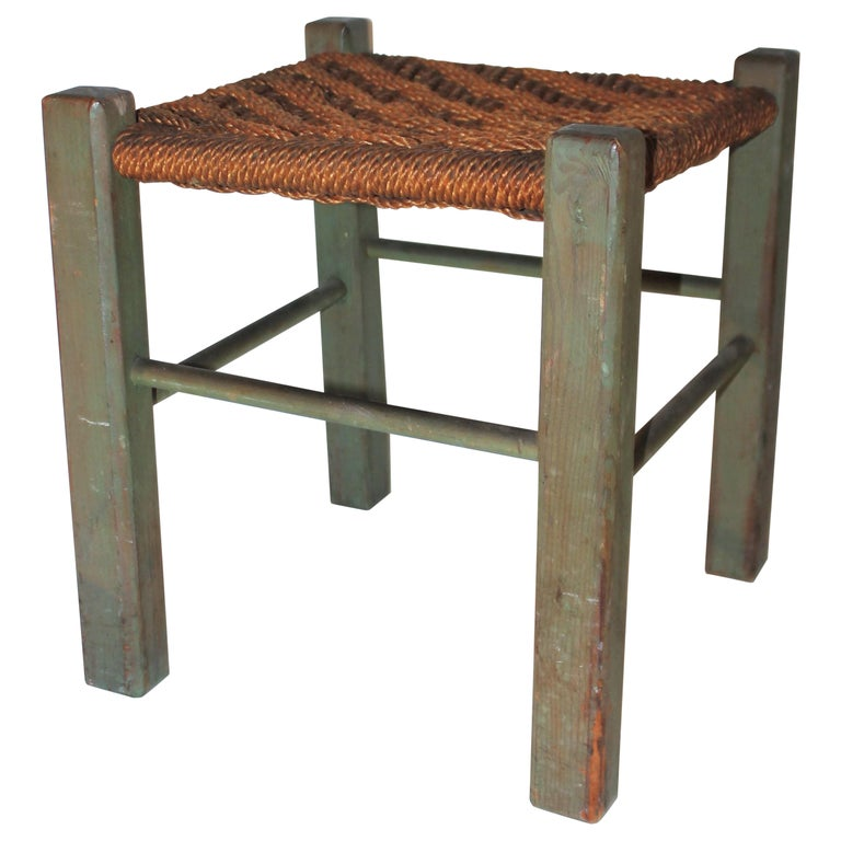 19thC Original Green Painted Stool with Woven Seat For Sale