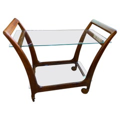 Mid Century Teak and Glass Bar Cart, Great Scale and Form, Pristine Condition